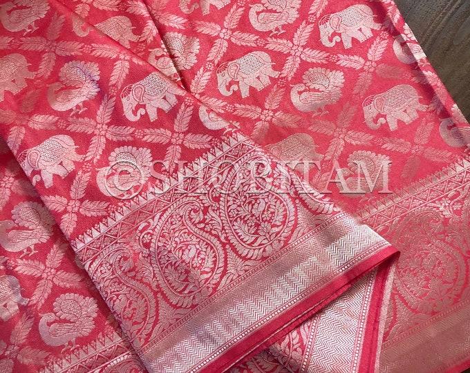 Peach Pink full zari weave Art Silk Saree | pink and muted silver Saree | Shobitam Saree