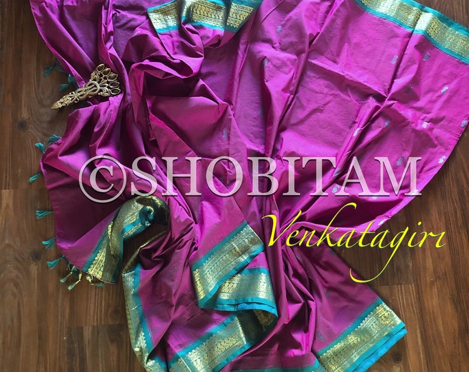 Gorgeous pink purple with rama green Venkatagiri Cotton Silk Saree with buttas  | Pretty Saree