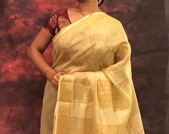 Golden tissue linen saree - Beautiful sari! Free shipping across USA