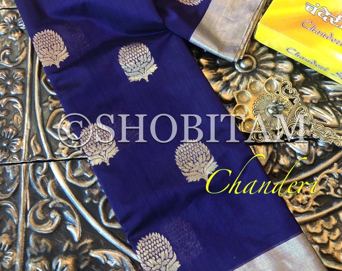Dark Blue Chanderi Silk Saree | Original Pure Chanderi Silk Cotton I Handmade Saree I Beautiful Wedding Sari!