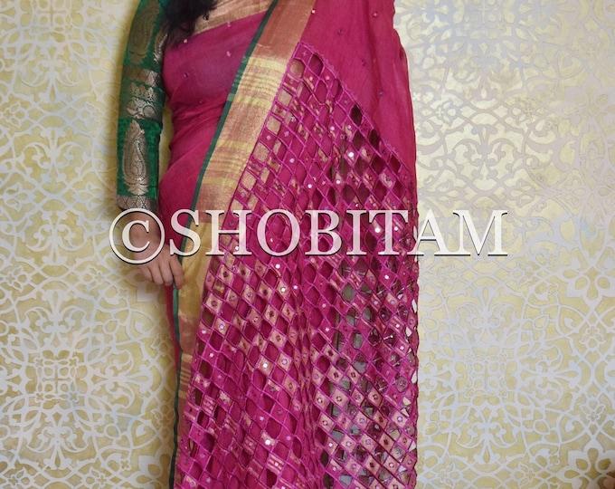 Cutwork Saree in linen    Pink Mirror work Saree in pure 100 count linen by linen   Shobitam Sari