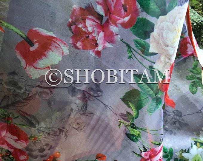 Linen-Organza Saree with kanchi Border   Floral Print Designer Saree   Bollywood Saree   Beautiful Sari