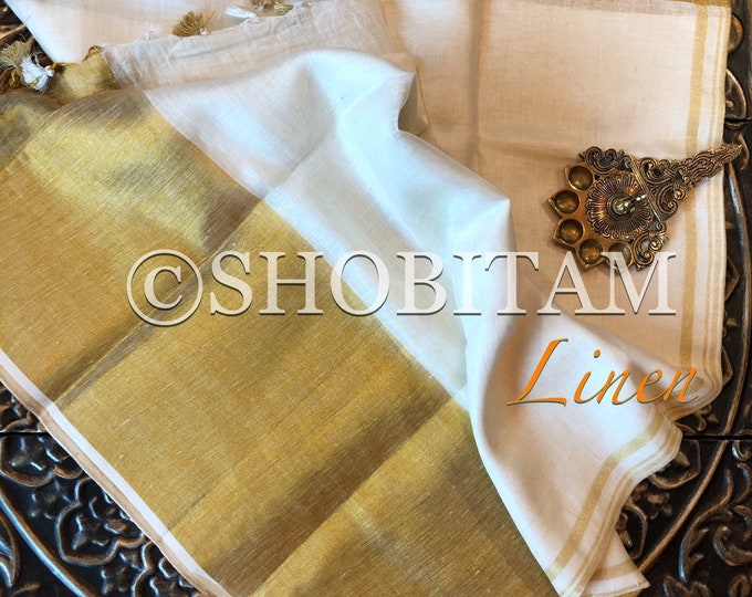 Ivory with Gold wide border Linen Saree   Organic Linen by Linen  Saree I FREE SHIPPING in USA   Shobitam Saree