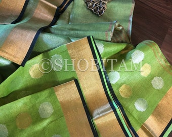 Designer Linen Saree | Linen Tissue Saree in muted silver parrot green with dual tone Polka Dots  | Shobitam Saree
