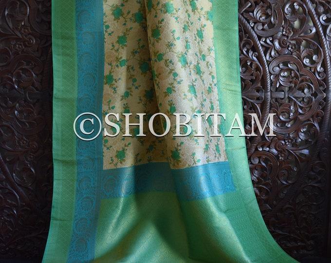 Floral Banarasi Saree in Dupion Silk