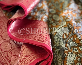 Stunning Block print Chanderi Cotton Saree - Kanchi Border | Statement Chanderi cotton saree | Block print  Saree | Shobitam saree