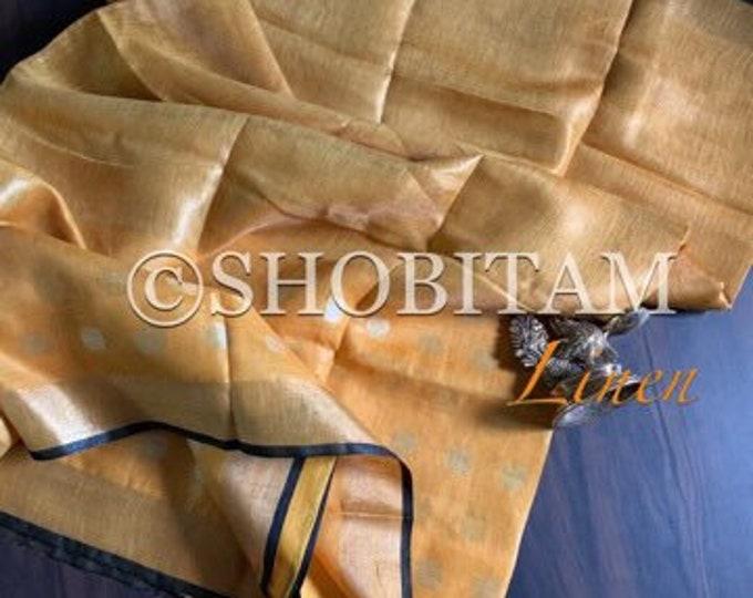 Designer Linen Saree   Linen Tissue Saree in mango yellow with dual tone Polka Dots    Shobitam Saree