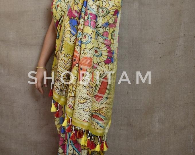 Kalamkari Saree in linen  I Linen Sarees I Handwoven Saree 100 Count Linen I Pretty Sari!