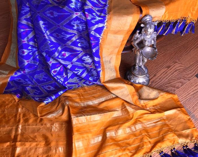 Pure Silk Dupatta in purple with  mustard borders and designer tassels| SILK MARK CERTIFIED Ikkat Dupatta | Pochampalli Dupatta