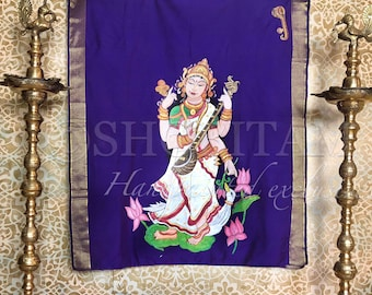 Goddess Saraswati in Balinese Style Mural on Cotton Silk Saree | Statement Handpainted Saree I | Shobitam Exclusive Saree
