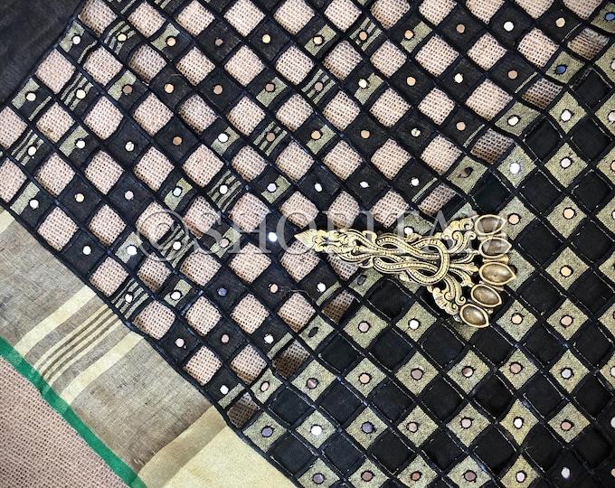 Cutwork Linen Saree in Black Green  Linen Saree    Shobitam Saree