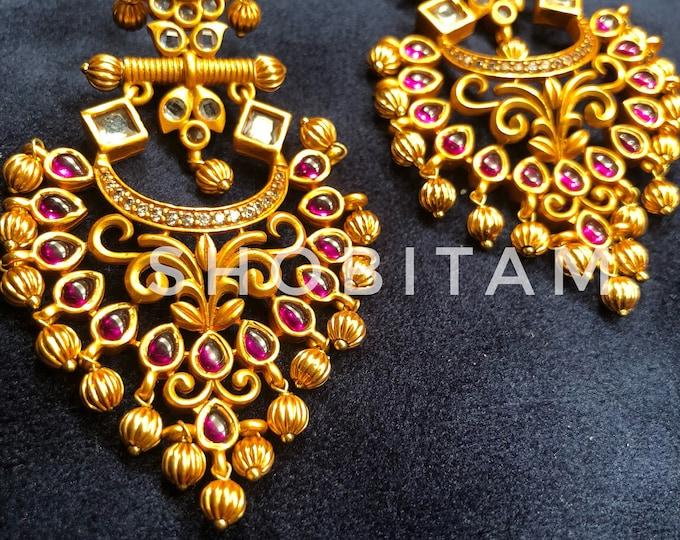 Chandbali earrings | kemp and white stone chandelier earrings| Bollywood earrings I Indian Jewelry | Beautiful piece!