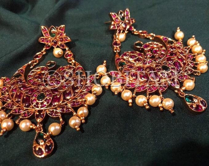 Chandbali earrings | kemp and green stone chandelier earrings| Bollywood earrings I Indian Jewelry | Shobitam Jewelry