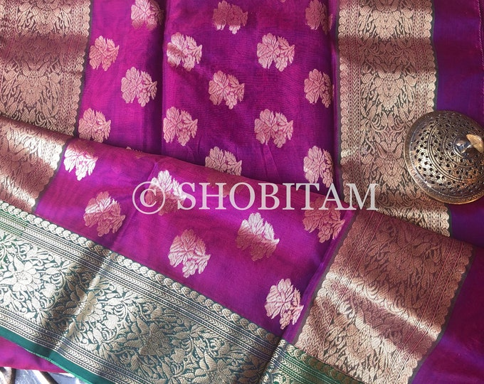 Handwoven Chanderi Silk Saree in Katan Silk | STUNNING SAREE in dual purple magenta with dark green border | Shobitam Saree