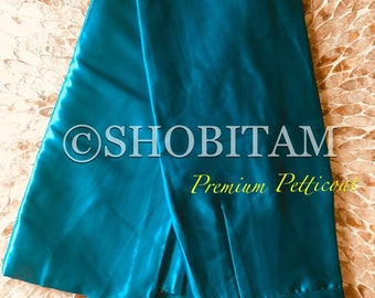 Premium Quality teal green Satin Petticoat for saree, in standard size.