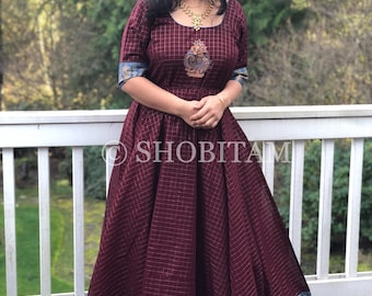 Exclusive  Sungudi Gown - Double flair Maroon-Turquoise Indian cotton gown with contrast border & zari work | Indian dress | Shobitam gown