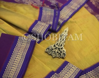 Light Green with purple Venkatagiri Cotton Silk Saree  | Pretty Saree | Shobitam Saree