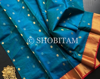 Chanderi Silk Saree: Peacock Blue Green Dual Tone Katan Silk Handwoven Chanderi Saree | Shobitam Saree