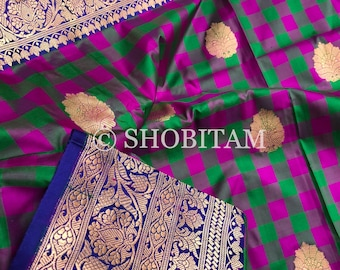 Pure Silk Saree in Checks | Katan Silk Banarasi Saree | Checks Saree | SILK MARK CERTIFIED Saree | Shobitam Saree