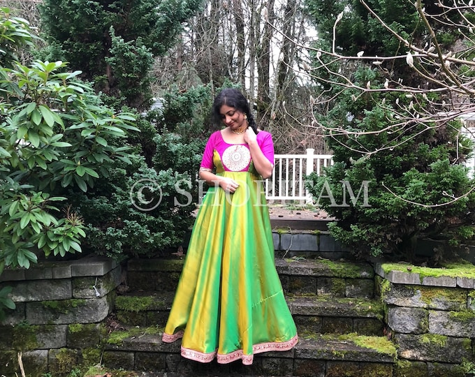 Pure Kanchipuram Soft Silk Gown ( 36/Tall)  | Dual tone lime with hot pink | Indian gown | Shobitam Gown