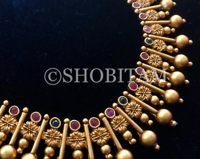 Indian Necklace Set  -  Studded necklace and Earrings set with gold beads  I  Gorgeous premium quality set | Shobitam jewelry