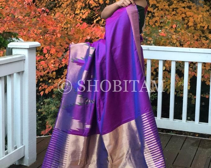 Statement Big Temple Border Saree in Dual Tone Purple   Pure Silk Kanjeevaram Saree   Designer Pure Pattu Shobitam Signature Collections