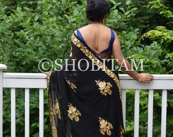 Black Kashmiri Saree with aari work. Embroidery saree | Georgette Saree | Unique partwear saree