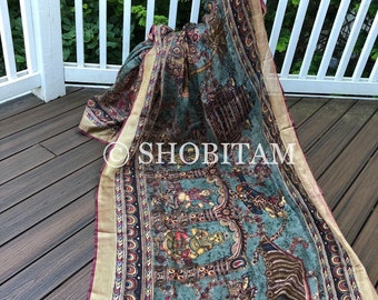 Ramayana Linen Saree: kalamkari Print linen saree  | Premium linen Saree. Beautiful one!
