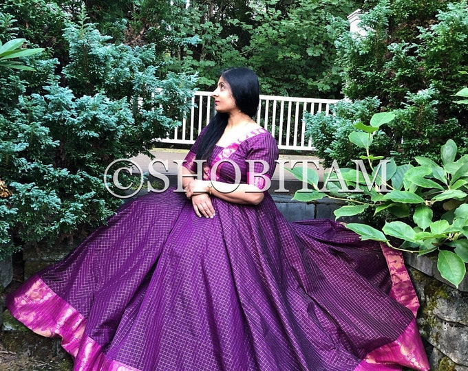 PREORDER: exclusive Sungudi Gown - Double flair purple pink Indian cotton gown and zari work | Indian dress | Beautiful gown
