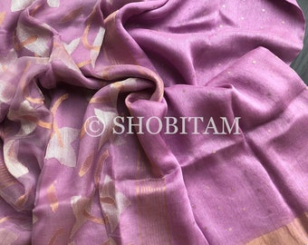 Silk Linen Jamdani Saree with woven sequins  in Lilac | Sequins Saree | Shobitam Saree