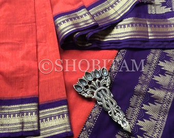 Sunset Orange with purple Venkatagiri Cotton Silk Saree  | Pretty Saree | Shobitam Saree