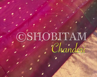 Latest Chanderi Ombre Silk Saree| Authentic Chanderi saree in Katan Silk | Pink Chanderi Saree | Beautiful Sare