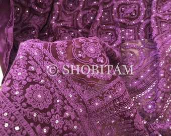 Plum Chikankari Saree with full work and sequins | Full Heavy work and Satin patti Chikankari Saree | Shobitam Saree