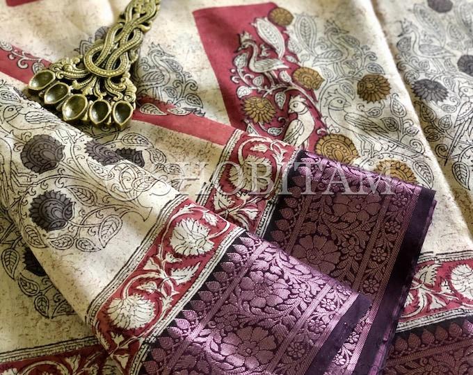 Stunning Block print Chanderi Cotton Saree - Kanchi Border | Statement Chanderi cotton saree | Block print  Saree | Shobitam saree