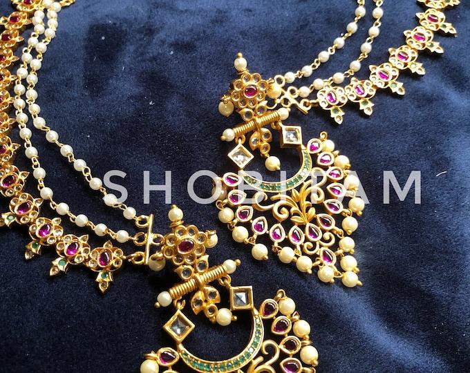 Chandbali earrings with kaan chain| kemp and white stone chandelier earrings| Bollywood earrings I Indian Jewelry | Beautiful piece!