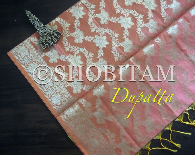 Peach Banarasi Dupatta | Pretty Dupatta on Chanderi Cotton | Lightweight Dupatta