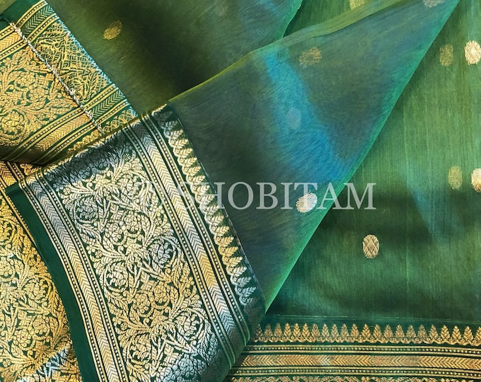 Pure Chanderi Silk Saree in dual tone green - blue | Authentic Chanderi saree in Katan Silk  | Shobitam Saree