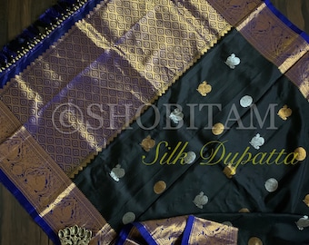 Grand Pure Silk Kanjeevaram Dupatta with wide borders, ends, Dual tone buttas and designer tassels | SILK MARK CERTIFIED | Shobitam Dupatta