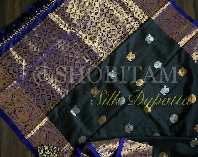 Grand Pure Silk Kanjeevaram Dupatta with wide borders, ends, Dual tone buttas and designer tassels | SILK MARK CERTIFIED | Shobitam Dupatta