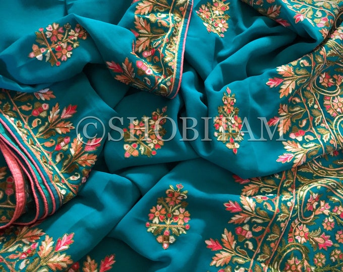 Kashmiri Saree with  aari work in teal | Embroidery saree | Georgette Saree | Aari Saree | Shobitam Saree