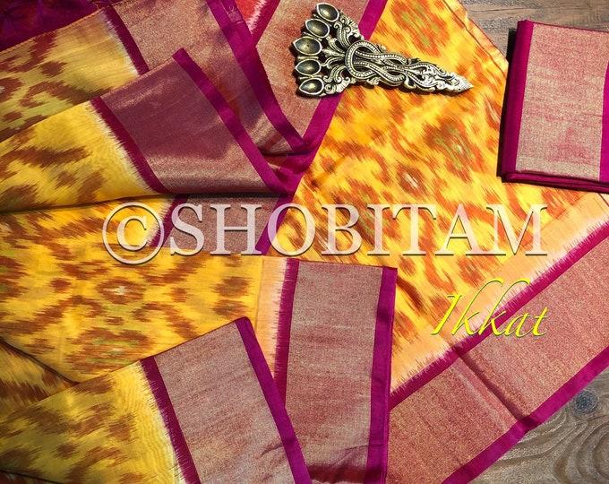 Ikkat Silk Cotton Saree I pochampally saree  | Ikkat Saree  | Pretty Sari! | Handmade Saree | Shobitam Saree