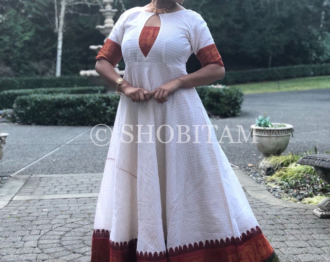 Off White Sungudi Gown with Ganga Jamuna border | Indian dress | Indian gown