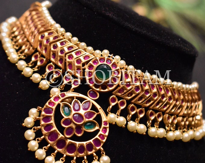 Temple Jewelry |Kemp choker with pendant I Temple Necklace | Indian Necklace | Traditional Necklace | Gorgeous Necklace |kemp jewelr