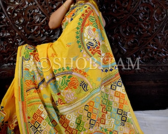 Exclusive Pure Silk Kantha Work Saree| Handmade Saree| Pure Silk Saree  | SILK MARK CERTIFIED  Saree | Shobitam Saree