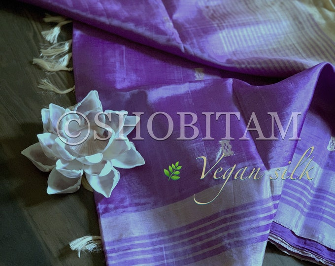 Vegan Silk Saree in lavender beige  ! Pretty Sari! Shobitam Saree