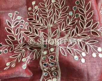 Persian Red and Silver Cutwork and Embroidery tissue Linen Saree| Evening Wear Sari | Cutwork saree | Shobitam Saree