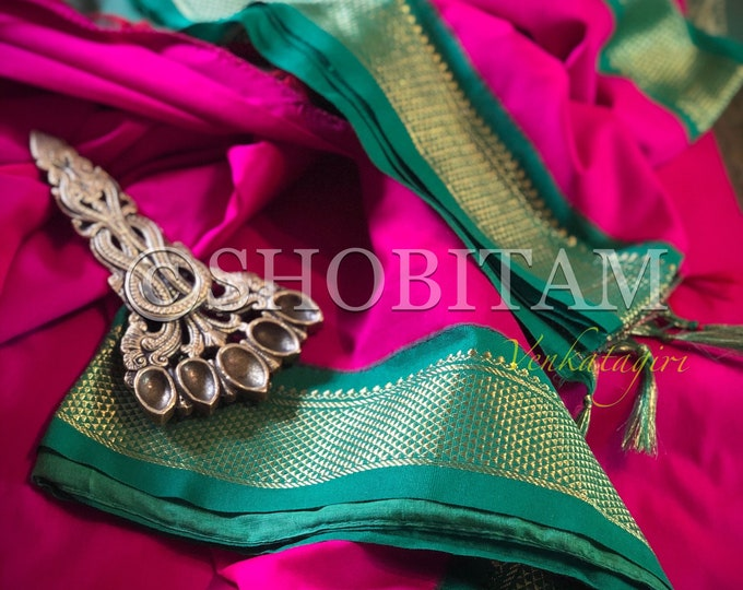 Magenta with Green Venkatagiri Cotton Silk Saree  | Pretty Saree | Shobitam Saree