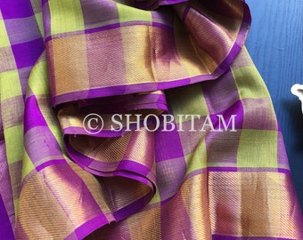 Kanchi Silk Cotton Handwoven Saree  | Checks Lightweight Handloom Saree | Shobitam Saree |