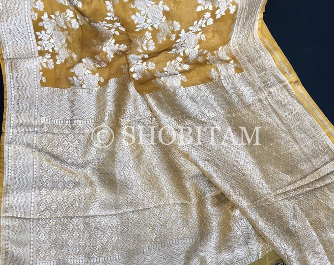 Pure Silk Georgette Banarasi Saree with Silver-Resham Zari  | SILK MARK CERTIFIED saree | Shobitam  Saree