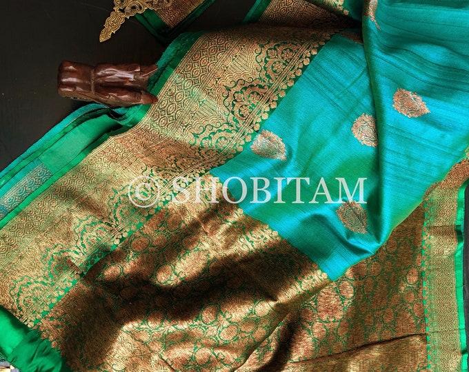 Pure Tussar Silk Saree with Antique Zari | Green Blue Dual Tone  Saree | SILK MARK CERTIFIED | Shobitam Signature